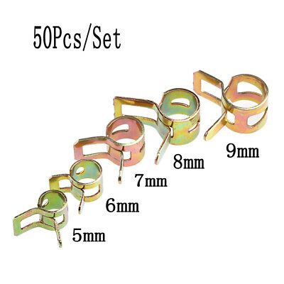 50x Fuel Line Hose Spring Clip Water Pipe Air Tube Clamp Fastener 5-9mm 5 Sizes