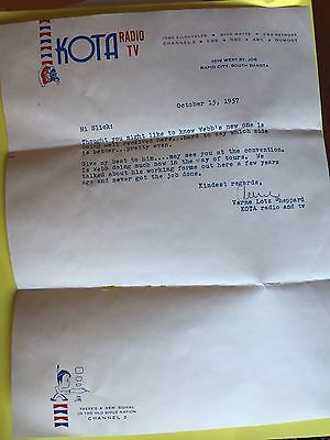 1956 Radio Station KOTA Rapid City South Dakota Letter And Envelope