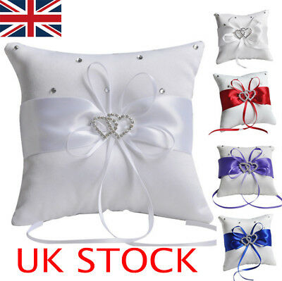 Double Heart With Diamond Engagement Bridal Wedding Ring Pillow Cushion Bearer