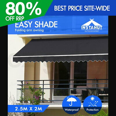 Instahut 2.5x2M Outdoor Folding Arm Awning Retractable Sunshade Canopy Grey