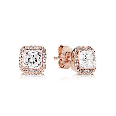 New Authentic Pandora  Rose Gold Timeless Elegance Earrings 280591CZ