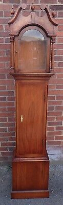 George III antique style burr solid walnut longcase grandfather clock case +key