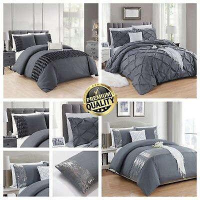 Grey Duvet Cover with Pillowcase Quilt Cover Bedding Set Double King S.king Size