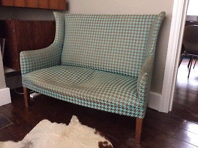 vintage edwardian 2 seater sofa, with dogtooth check