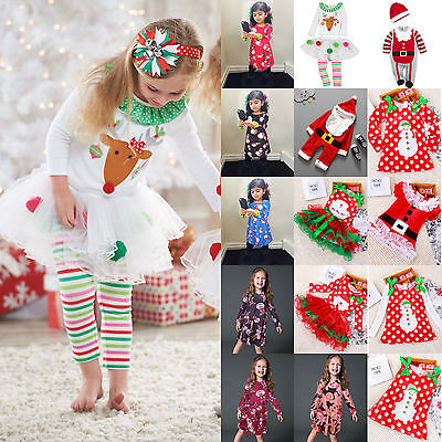 Kids Baby Girl Christmas Party Dress Santa Snowman Children Xmas Costume Clothes