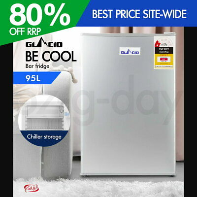 Glacio 95L Portable Bar Fridge Refrigerator Cooler Freezer Office Home Silver