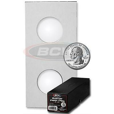 300 BCW Quarter Cardboard Holders Flips with 3 Black Coin Storage Boxes