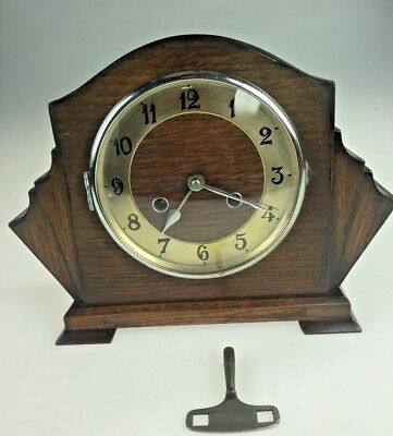 Vintage Wooden Art Deco Napoleon hat mantle clock with key & pendulum.