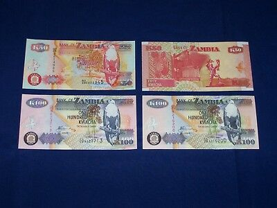 Set of 2 Different Zambia Bank Notes