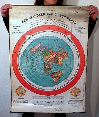 "Flat Earth PVC Poster Prints GLEASONS NEW STANDARD MAP OF WORLD 1892 (40"" x 28"")"