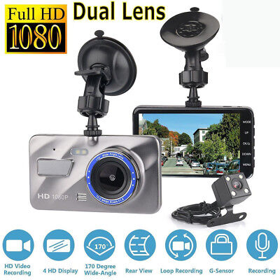 "4"" Dash Cam FHD 1080P Front and Rear Car Dashboard Camera 170° DVR Recorder CHB"