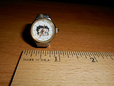 Betty Boop Ring / Watch with Expansion Band - Silver Tone 1998 Needs Battery
