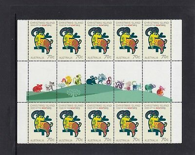 CHRISTMAS IS  2015  Year of the GOAT complete illustrated GUTTER strip of 10 MNH