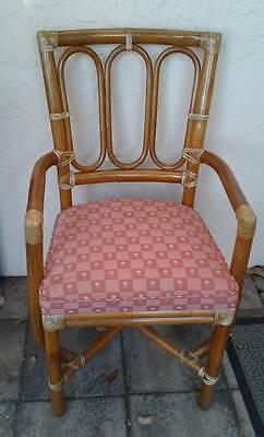 4 Vintage Signed Genuine McGuire San Francisco Bamboo Rattan Chairs