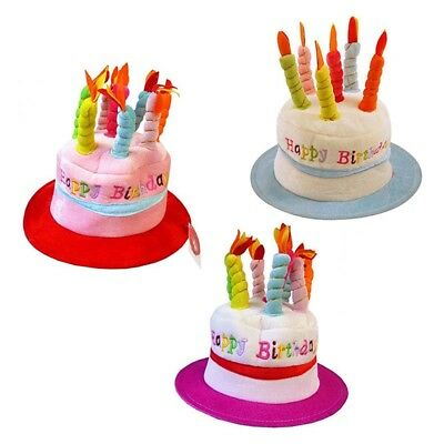 Happy Birthday Cake Hat With Candles 3 Assorted Designs Party Gift NEW