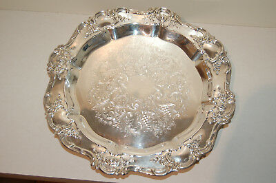 """Vintage Towle Old Master Embossed Silver-Plate Lazy Susan Serving Tray 15"""""""