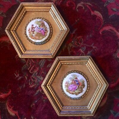 Jean-Honore Fragonard Porcelain Art In Rococo Style In Gold Gilt Frames ANTIQUES