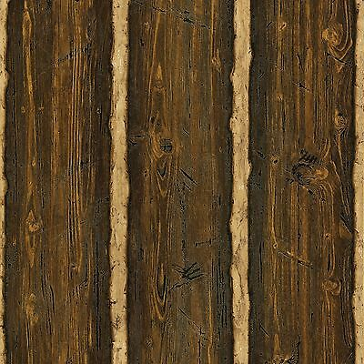 DOUBLE ROLL Log Brown Wood Paneling Wallpaper TLL41382
