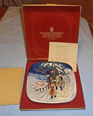 Royal Doulton John Beswik Christmas Around The World Norway 1975 Plate in Case