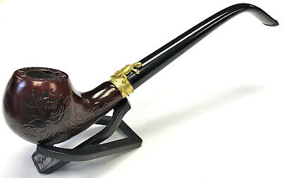 "Eclipse 9"" Wooden Churchwarden Tobacco Herb Smoking Pipe Bowl, Gift Set, PipM165"