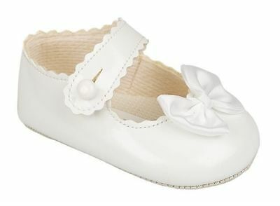 Baby girls white summer christening shoe shoes 3-6-9-12-18 months size 1 2 3 4