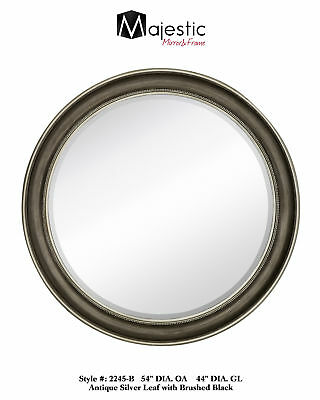 Majestic Mirror Round Beveled Glass Wall Accent Mirror Silver Open Box