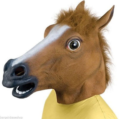 Creepy Halloween Party Horse Full Head Latex Rubber Mask Novelty Fancy Prop Toy