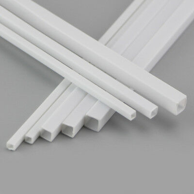 ABS Plastic Tube Square White 3x3x250mm to 6x6x250mm Length For Model DIY Build