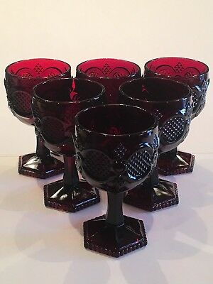 "(6) Vintage Avon 1876 Cape Cod Ruby Red 6"" Hexagonal Footed Water & Wine Goblets"