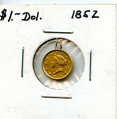 Astounding 1852 United States Liberty Head $1 Gold Eagle EX JEWELRY Coin EJ270