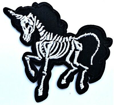 Unicorn Skeleton Skull Embroidered Patch Iron On Day of the Dead Goth Occult