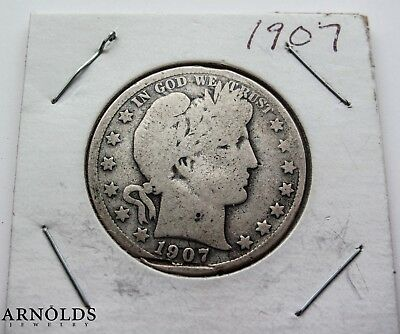 1907 Barber Half Dollar - Very Good to Fine Condition -