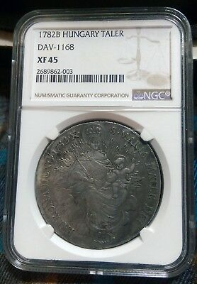 1782 Hungary Taler NGC XF 45 - Large Silver Coin With Madonna and Child