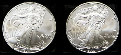 2007, 2009 American Silver Eagles lot of 2 coins, Blast White Great Luster #622J