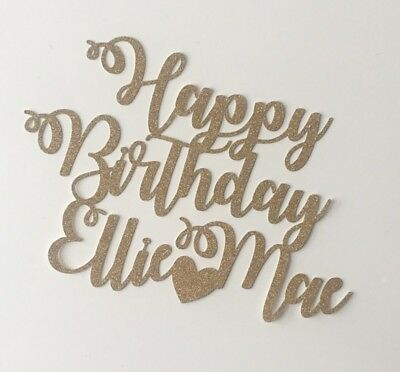 Custom Personalised Glitter Cake Topper Birthday Party Decor Any Name Word