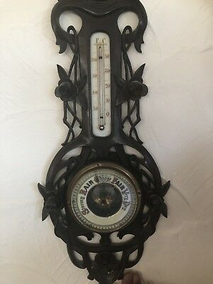 Antique Carved Wood Barometer