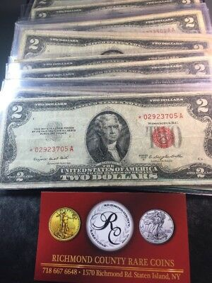 21- 1953 , 1953 A $2 *STAR* RED SEAL LEGAL TENDER UNITED STATES NOTES Avg Circ