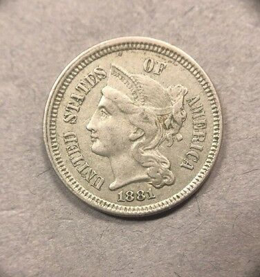 1881 3 Cent Nickel Early American Collectible Coin