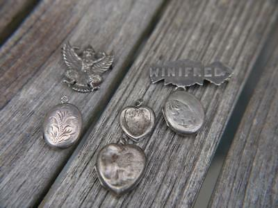 6 Antique Sterling Silver Pendants Brooch Damaged Good For Scrap Or Repair