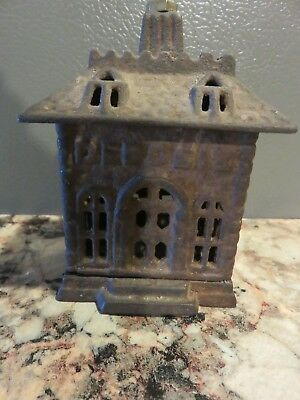 Antique Victorian 19Th Century 1800's Old Cast Iron Toy Building Still Bank Nice