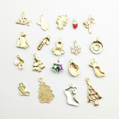19Pcs/Set Alloy Mixed Christmas Pendant Charm Hanging Holiday Decor Ornament DIY