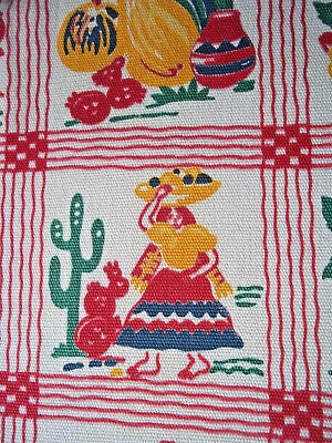 Vintage Mexico cactus colorful Axtec village novelty fabric tablecloth? curtain?