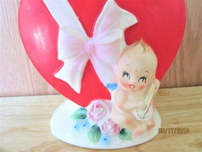 Vintage Lefton #7700 Valentine Red Heart With Baby & Music Planter Japan