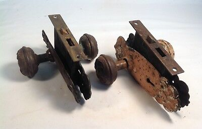 Two vintage Victorian metal mortise door locks with knobs and plates