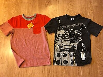 Boys T-shirts Aged 7-9 Years - Dr Who And Striped New Top