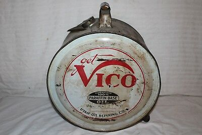 Rare Vintage 1928 Vico 5 Gallon Metal Rocker Motor Oil Can Gas Station Sign