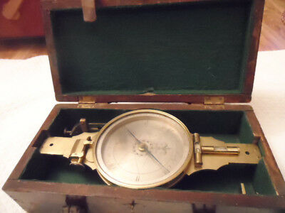 Antique Andrew Meneeley Compass In Original Box, 1840 To 1850, West Troy Ny
