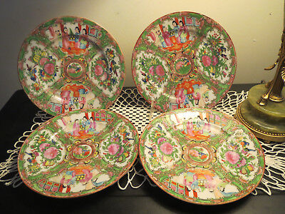 4 Rose Medallion Chinese Plates - Geisha's, Birds, Hand Painted, Flowers & Gild