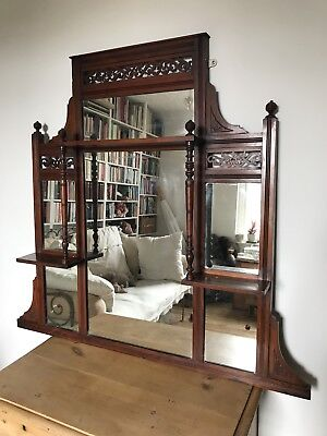 Antique Victorian Edwardian Mahogany Wooden Over Mantle Mirror