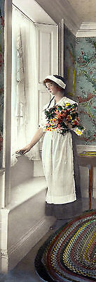 ANTIQUE & Rare Circa Early 1900s HandColored Photo LOVELORN WOMAN, Nutting Style